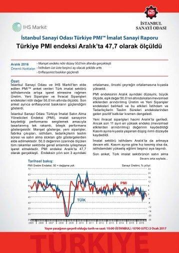 Türkiye PMI endeksi Aralık'ta 47,7 olarak ölçüldü