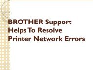 BROTHER Support Helps To Resolve Printer Network Errors