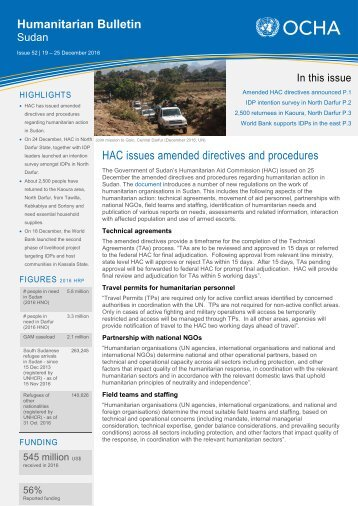 Humanitarian Bulletin HAC issues amended directives and procedures