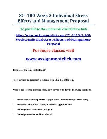 stress management workshop proposal