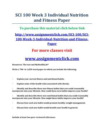 sci100 nutrition and fitness The certificate of completion (ccl) in nutrition for fitness and wellness program is designed to provide personal trainers with a foundational nutrition.