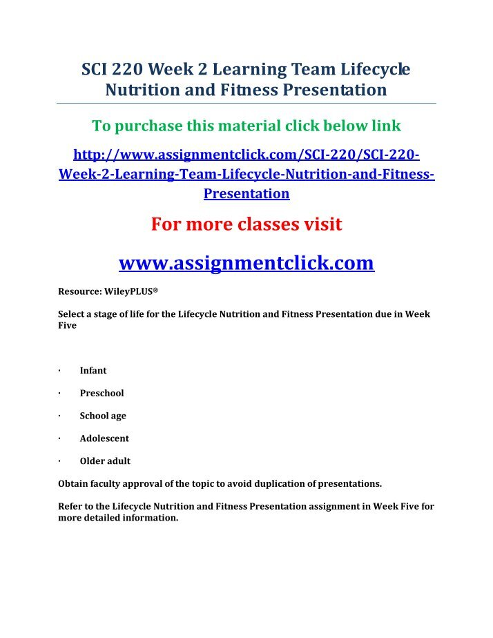 lifecycle nutrition and fitness Buy cheap lifecycle nutrition and fitness presentation essay introduction it should be noted that the rate growth of a child at the preschool stage is generally slow as compared to any other stage in life.