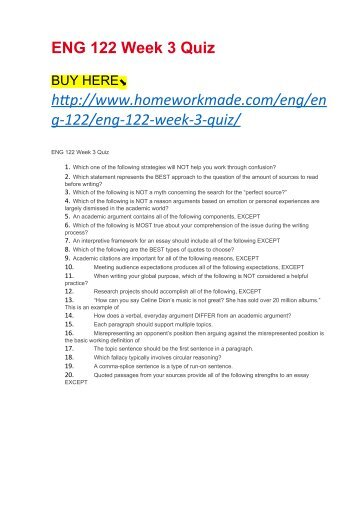 ENG 122 Week 3 Quiz