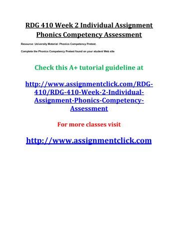 UOP RDG 410 Week 2 Individual Assignment Phonics Competency Assessment