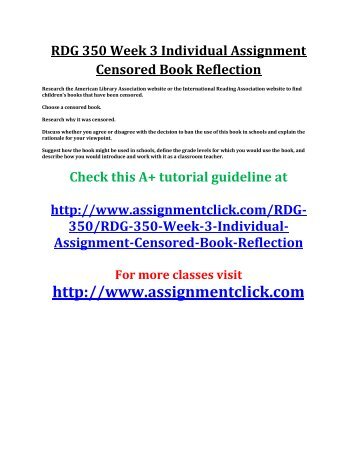 UOP RDG 350 Week 3 Individual Assignment Censored Book Reflection