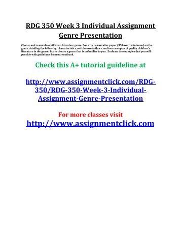 UOP RDG 350 Week 3 Individual Assignment Genre Presentation