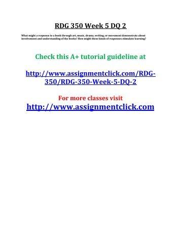 UOP RDG 350 Week 5 DQ 2