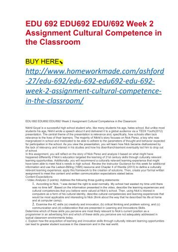 EDU 692 EDU692 EDU:692 Week 2 Assignment Cultural Competence in the Classroom