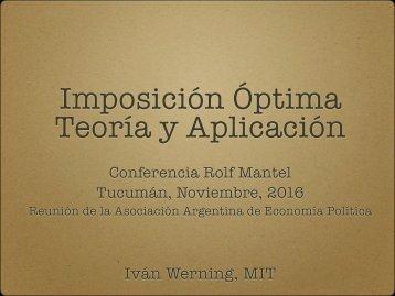 Imposición Óptima Teoría y Aplicación