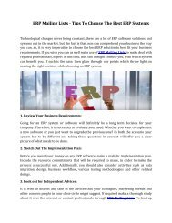 ERP Mailing Lists - Tips To Choose The Best ERP Systems