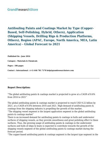 Antifouling Paints & Coatings Market worth 9.22 Billion USD by 2021