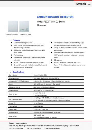 isweek F2000TSM-CO2 Series Carbon Dioxide Detector