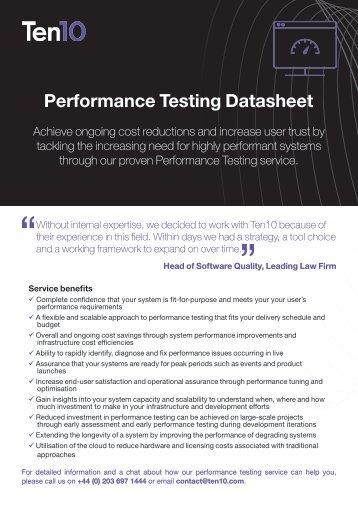 Performance Testing Datasheet