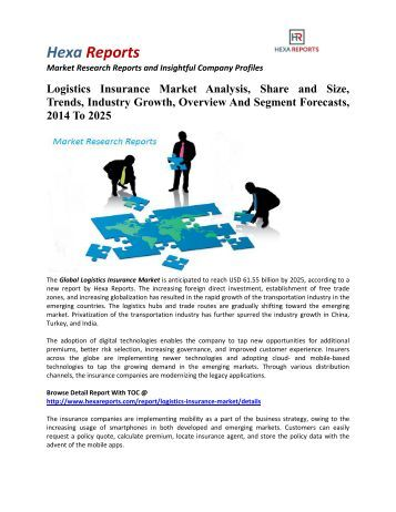 Logistics Insurance Market Share, Industry Growth And Overview, 2014 To 2025: Hexa Reports