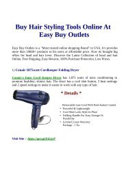 Buy Hair Styling Tools Online At  Easy Buy Outlets