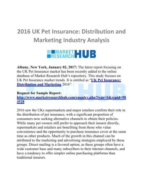 UK Pet Insurance Distribution and Marketing Industry
