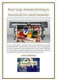 How large format printing is beneficial for small business