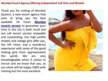 Mumbai Escort Agency Offering Independent Call Girls and Models