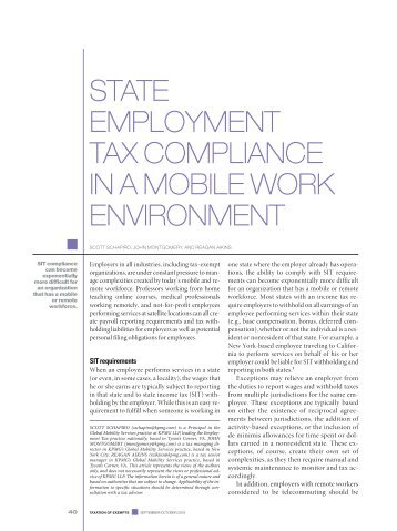 STATE EMPLOYMENT TAX COMPLIANCE IN A MOBILE WORK ENVIRONMENT