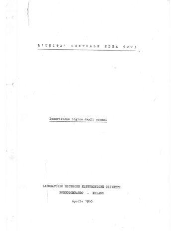 ELEA 9003 - Unita Centrale -Descrizione Logica degli Organi