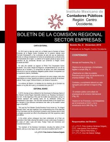 BOLETÍN DE LA COMISIÓN REGIONAL SECTOR EMPRESAS