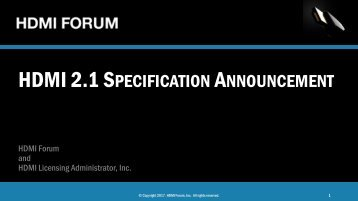 HDMI 2.1 SPECIFICATION ANNOUNCEMENT