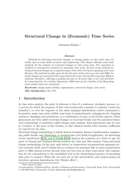 Structural Change in (Economic) Time Series