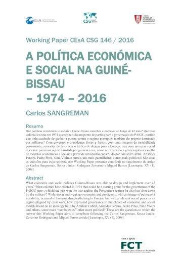 A POLÍTICA ECONÓMICA E SOCIAL NA GUINÉ- BISSAU – 1974 – 2016