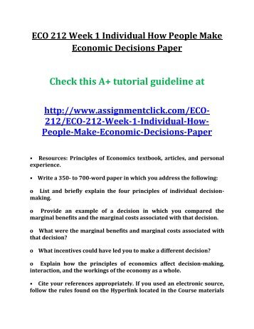 economic decision making paper
