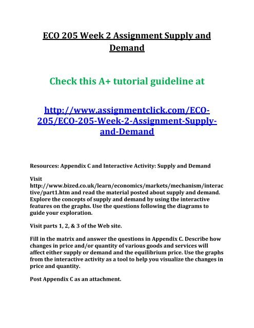 UOP ECO 205 Week 2 Assignment Supply and Demand