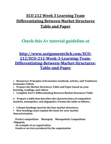 individual differentiating between market structures week 4 eco 365 2 part essay university of phoen Scribd is the world's largest social reading and publishing site university of newcastle new college 4 fig 2) it was surrounded.