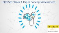 ECO 561 Week 1 Paper Concept Assessment
