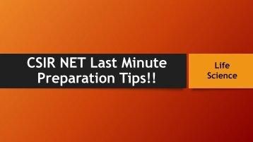 Csir net last mintue preparation tips