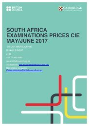 SOUTH AFRICA EXAMINATIONS PRICES CIE MAY/JUNE 2017