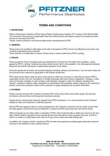 PPG Terms and Conditions