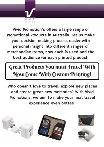 Australia's Best Range of Promotional Travel Products