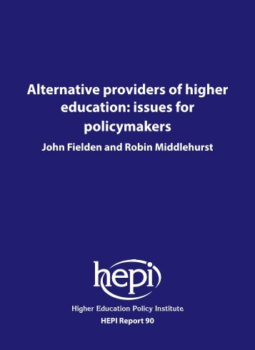 Alternative providers of higher education issues for policymakers
