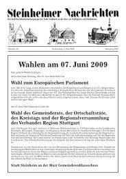Wahlen am 07. Juni 2009 - Stadt Steinheim an der Murr