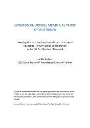 WINSTON CHURCHILL MEMORIAL TRUST OF AUSTRALIA
