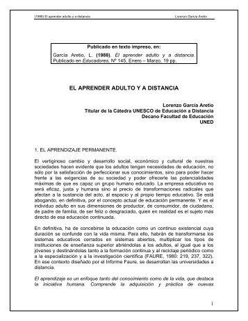 El aprender adulto y a distancia - Lorenzo García Aretio