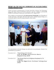 report on the one day workshop on nuclear energy conducted by cusat