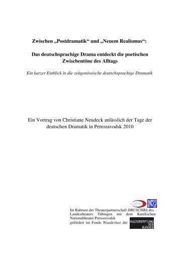 """Zwischen """"Postdramatik"""" und """"Neuem Realismus"""""""
