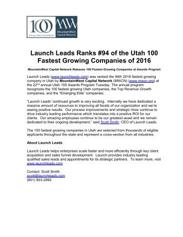 Launch Leads Ranks #94 of the Utah 100 Fastest Growing Companies of 2016