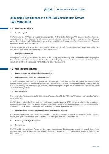 VOV Vereine Bedingungen - VOV GmbH