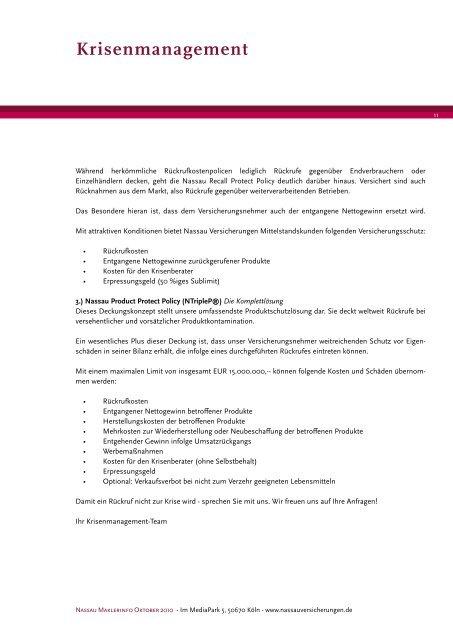 Schadenmanagement - Nassau Versicherungen