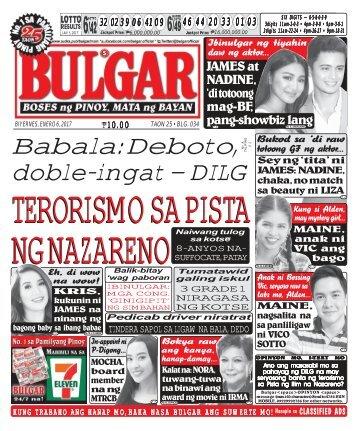 January 6, 2017 BULGAR: BOSES NG PINOY, MATA NG BAYAN