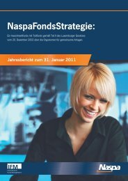 NaspaFondsStrategie, Jahresbericht