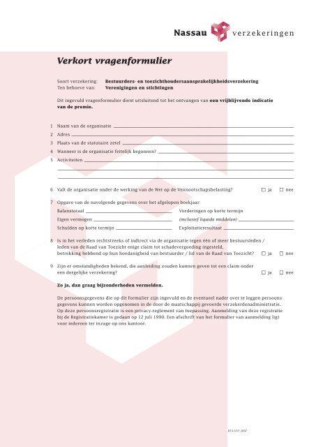 Verkort vragenformulier - Nassau Versicherungen