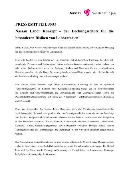 PRESSEMITTEILUNG Nassau Labor Konzept – der ...