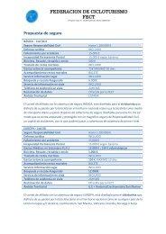 FEDERACION DE CICLOTURISMO FECT Propuesta de seguro